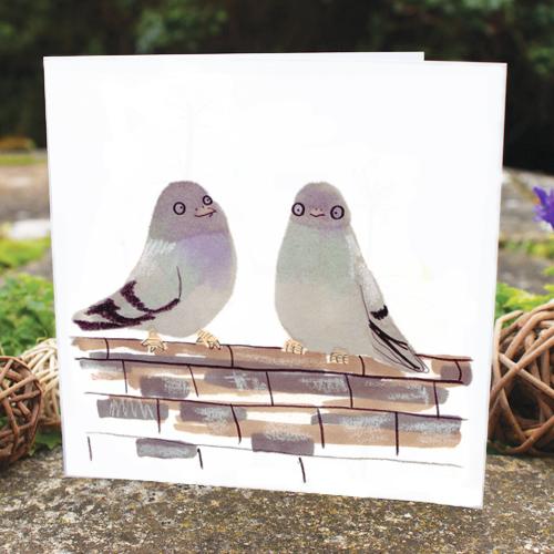 jo clark illustrated card pigeons