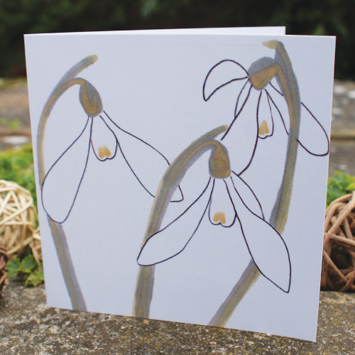 jo clark design snowdrops greetings card image