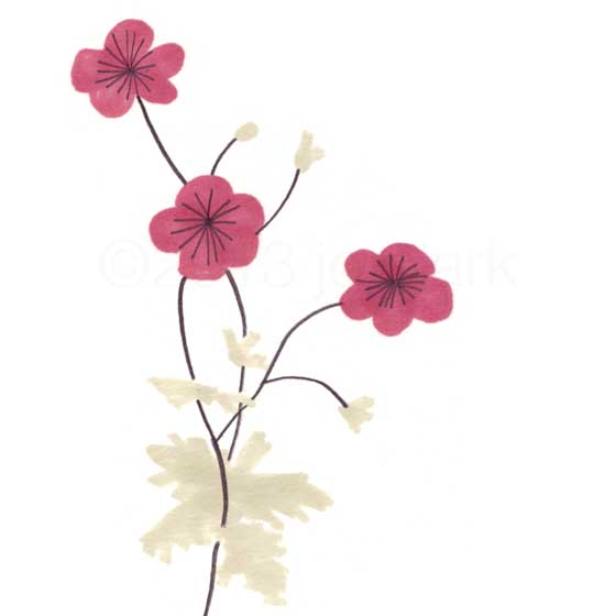 pretty red flowering plant drawing