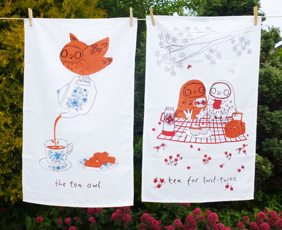 Set of Tea Owls Tea Towels