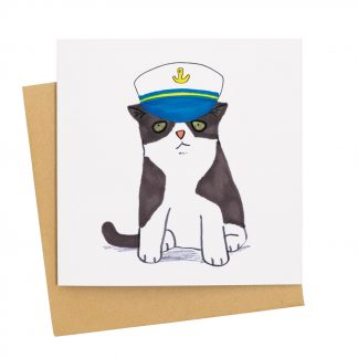 Cat in sailor hat card