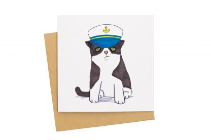 Cat in sailor hat card