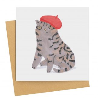 grey tabby cat card