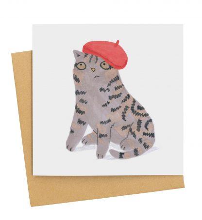grey tabby cat card