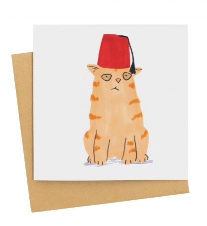 ginger cat in fez card