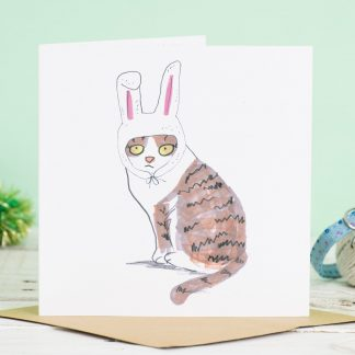 car in bunny hat card