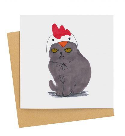 Black Cat In Chicken Hat
