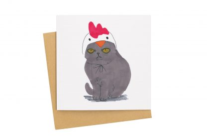 cat in chicken hat card