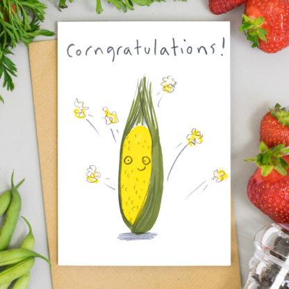 Congratulations card illustrated Corn on the cob