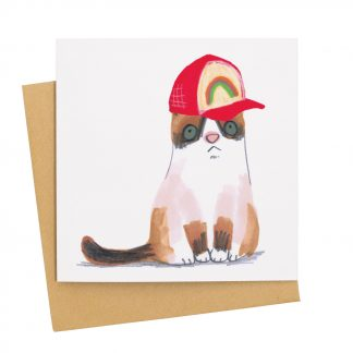 Cat in baseball Cap card