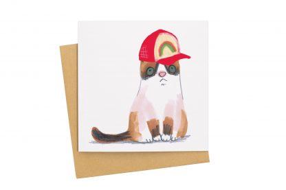 Cat in baseball Cap card