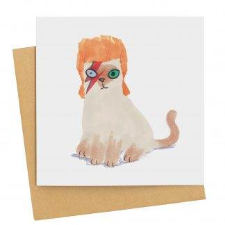 David Bowie cat greetings card