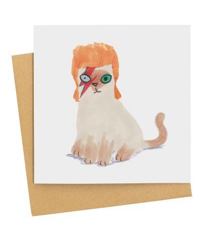 David Bowie cat greetings card