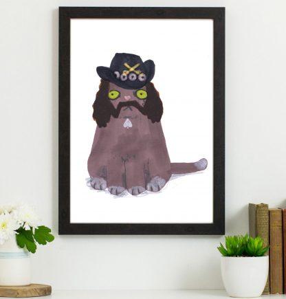 Lemmy cat art Print