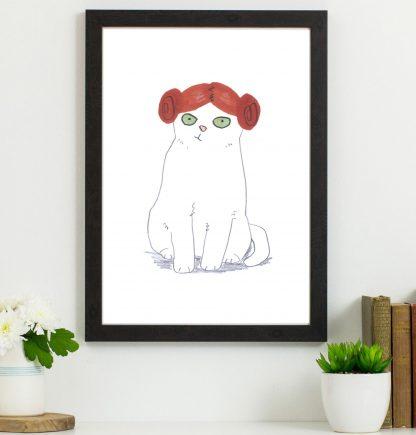 white cat in princess leia wig