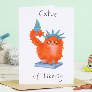 statue of liberty cat card