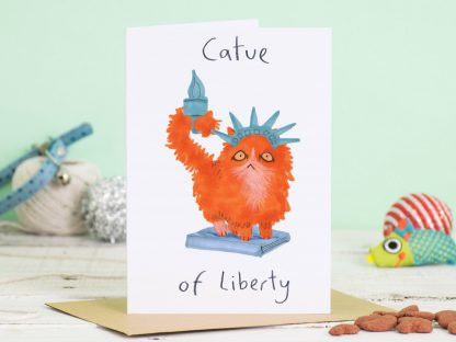 statue of liberty cat card