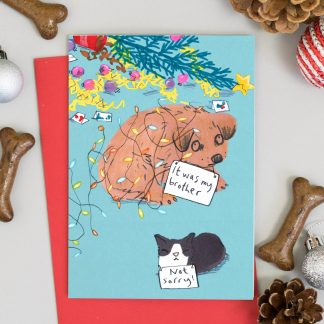 Dog and cat knocked over christmas tree dog shaming Christmas card