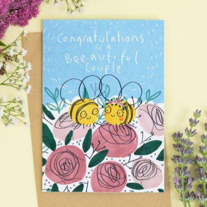Congratulation Wedding card Bees
