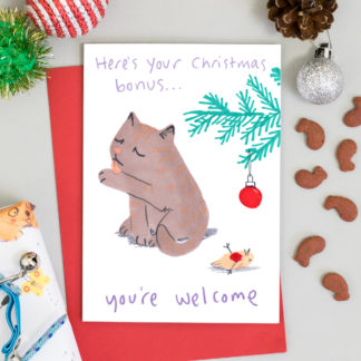 Cute funny cat Christmas card - cat has left dead bird as present under Christmas tree