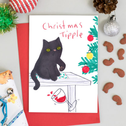 Cat knocking wine glass of of table - funny cat Christmas card