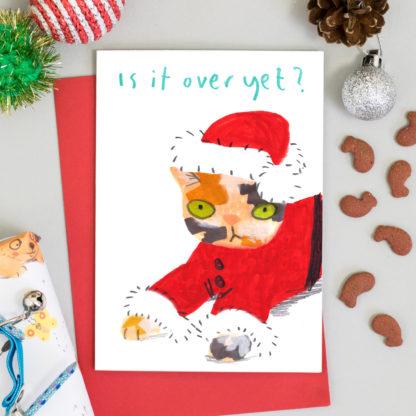 cat christmas card, cat in santa costume