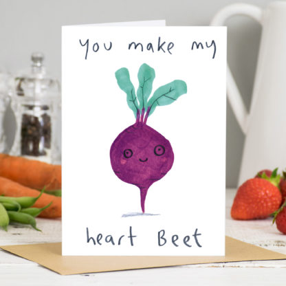 You Make My Heart Beet Valentines Card