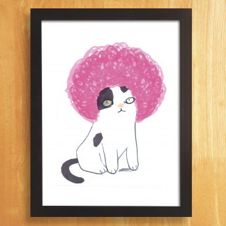 Cat In Pink Afro Wig Print