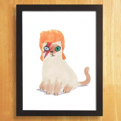 Cat In Bowie Wig Print