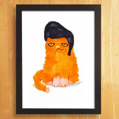 Cat In Elvis Wig Print
