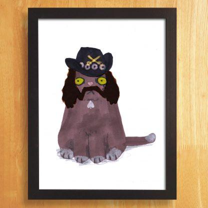 Cat In Lemmy Wigs & Hat Print