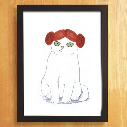 Cat In Princess Leia Wig Print