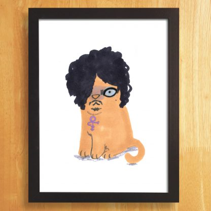 Cat In Prince Wig Print