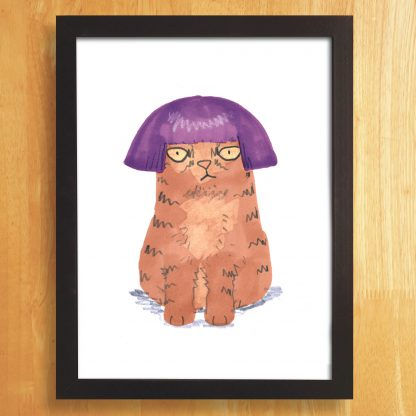Cat In Purple Wig Print