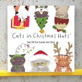 Cats in Christmas Hats - Set Of 6 Assorted Designs - pack 1
