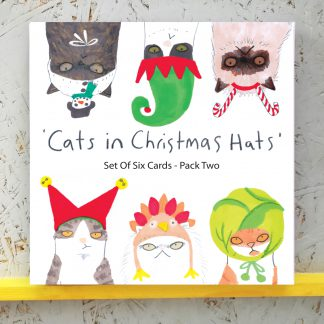 Cats in Christmas Hats - Set Of 6 Assorted Designs - pack 2