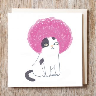 Cat In Pink Afro Wig