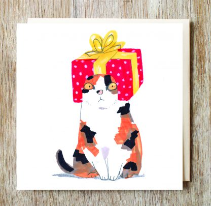 Cat In Gift Box Hat Card