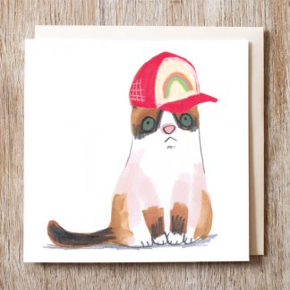 Cat In Rainbow Baseball Cap