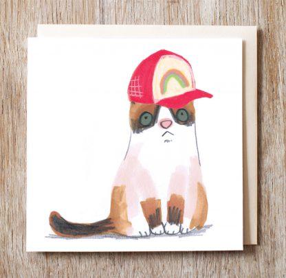 Cat In Rainbow Baseball Cap