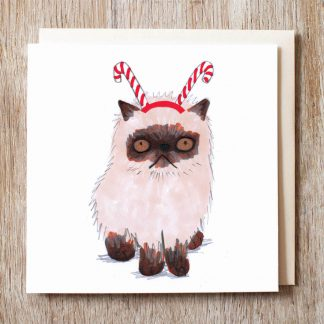 Cat In Candy Cane Hat Card