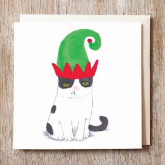 Cat In Elf Hat Card