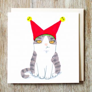 Cat In Jester Hat Card