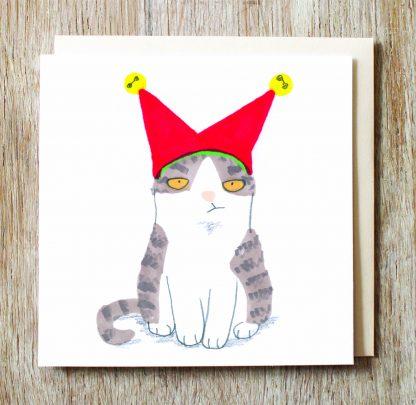 Cat In Jester Hat Card
