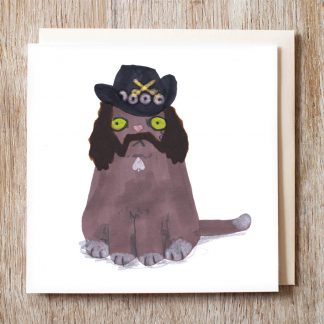 Cat In Lemmy Wigs & Hat Card