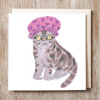 Cat In Shower Cap