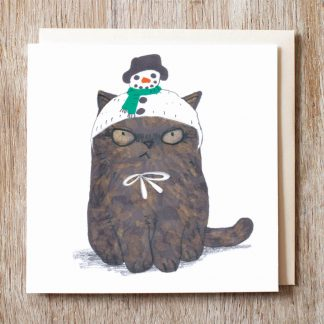 Cat In Snowman Hat Card