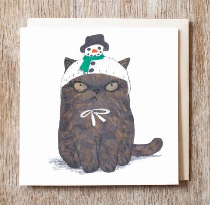 Cat In Snowman Hat Card