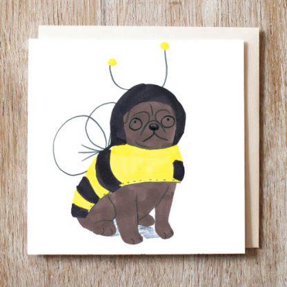 Black Pug Bee Card