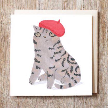 Cat In Beret Hat